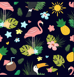 seamless cartoon doodle pattern exotic vector image