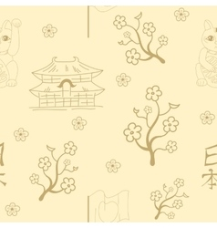 Seamless Japanese symbols background vector