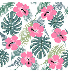 Seamless pattern with exotic leaves and hibiscus vector