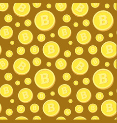 seamless pattern with golden bitcoins on brown vector image