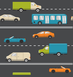 seamless pattern with transport on the road vector image