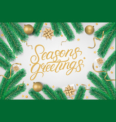 seasons greetings hand written lettering text vector image