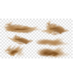 Set 3d realistic dust cloud isolated on a vector
