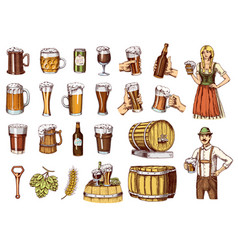 set of beer glass mug or bottle of oktoberfest vector image