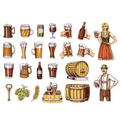 set of beer glass mug or bottle of oktoberfest vector image