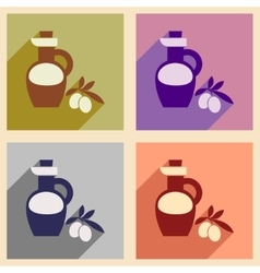 Set of flat web icons with long shadow olive oil vector