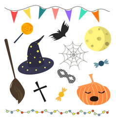 set of halloween attributes vector image