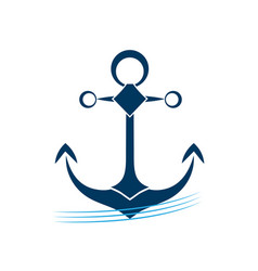 ship anchor on blue waves icon vector image