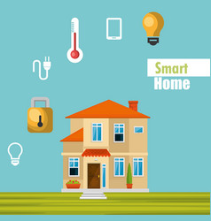 Smart house with set services icons vector