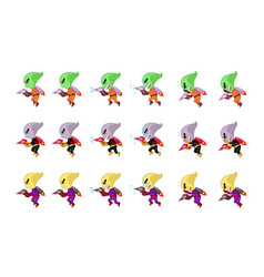 Space creature with jet pack and gun game sprites vector