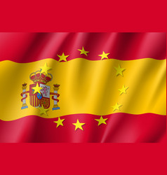 Spain national flag with a star circle of eu vector