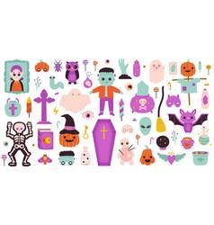 spooky halloween symbols happy halloween ghost vector image