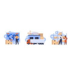 storage transportation and delivery of orders vector image