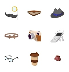Subculture hipsters icons set flat style vector