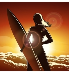Surfer girl on a beach vector