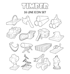 Timber industry icons set outline ctyle vector