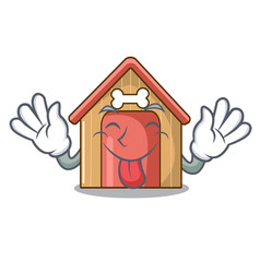 tongue out mascot dog house of wood home vector image