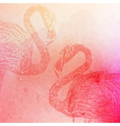 Vintage pink watercolor flamingos on the vector