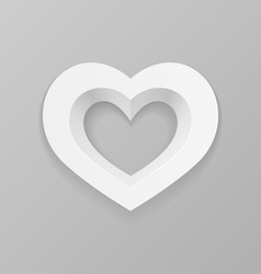 White heart on a gray background vector image