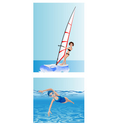 Windsurfer and swimmer vector