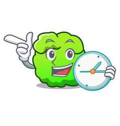 With clock shrub character cartoon style vector