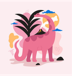 With pink dinosaur black palm small volcano vector