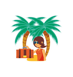 woman tourist with suitcase and beach palms vector image
