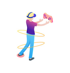 Young boy take play joystick in virtual reality vector