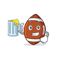 american football character cartoon with juice vector image vector image