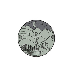 astronaut touching brontosaurus circle mono line vector image