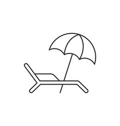Beach umbrella icon with deckchair vector image