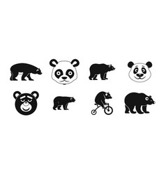 bear icon set simple style vector image vector image