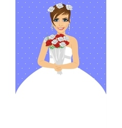 Beautiful bride holding bouquet of roses vector image vector image