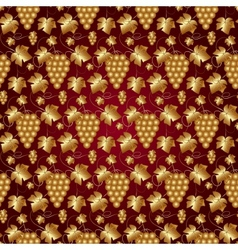 Golden Seamless Pattern on Red with Grapes and vector image vector image