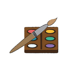 paint palette and brush vector image