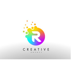 r rainbow dots letter logo letter design with vector image vector image