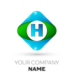 realistic letter h logo in colorful rhombus vector image vector image