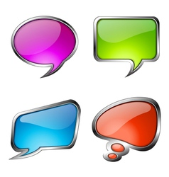 Set of colorful glass speech bubbles vector image vector image