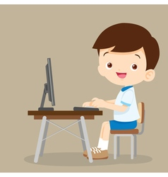 cute student boy working with computer vector image vector image