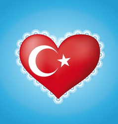 Heart shape flag of Turkey vector image vector image