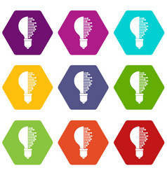 lightbulb with microcircuit icon set color vector image vector image