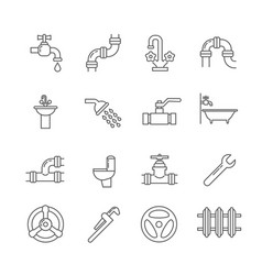 plumbing sewerage pipe faucet thin line vector image