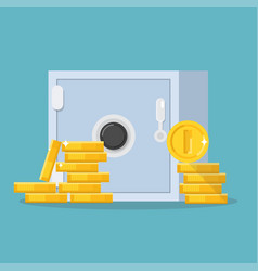 safe and coins vector image
