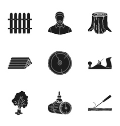 Sawmil and timber set icons in black style big vector