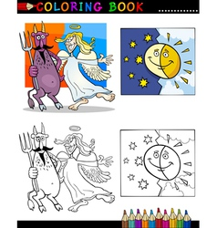 devil and angel for coloring vector image