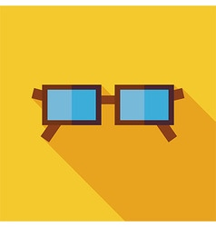 Flat Eye Glasses with long Shadow vector image vector image