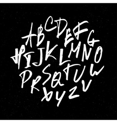 hand drawn alphabet on black vector image