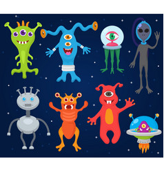monster alien cartoon monstrous character vector image
