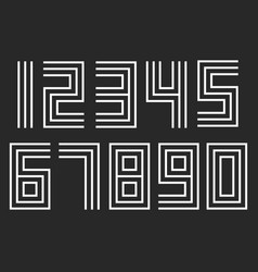 numbers set linear hipster deco parallel offset vector image vector image
