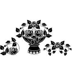 rose stencil vector image vector image